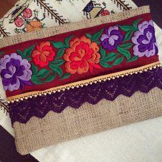Floral embrague, embrague Bohemia, Boho bolso, bolso de la manera, bolso de la…