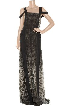 Roberto Cavalli Leopard-print pleated silk-georgette gown - 60% Off Now at THE OUTNET