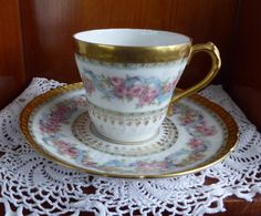 Beautiful Haviland Limoges Demitasse Cup And Saucer Ornate Floral Gold Roses Antique 1900-1910