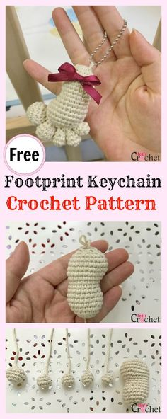 Mini Amigurumi Footprint Keychain Free Crochet Pattern Mini Backpack Keychain Free Crochet PatternCute and Fun Keychain Crochet PatternsMini Amigurumi Pig – A Free Crochet Pattern Crochet Diy, Crochet Motifs, Crochet Patterns Amigurumi, Crochet Gifts, Baby Knitting Patterns, Crochet Dolls, Crochet Stitches, Cat Amigurumi, Confection Au Crochet