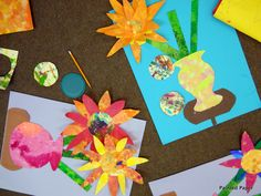 Painted Paper coffee filter 3-d flower collage 4th grade art lesson project elementary art lesson still-life