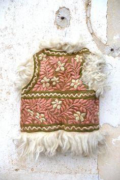 1970 mongolian lamb embroidered vest hippie folk fur vest children size 4/6 years