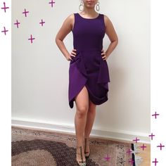 *PRICE DROP* BCBG Dress This purple dress is sort of like a peplum. Gives good coverage in the tummy area. It's listed as a size 10 I would suggest size 4 to 6. Only worn once so it's like new. Zipper enclosure on the side. Sexy slit. Can be styled with gold hoop earrings and the Charles David heels also for sale in my closet. I have this dress listed cheaper on Mercari, check it out! http://item.mercariapp.com/gl/m803305662 BCBGMaxAzria Dresses