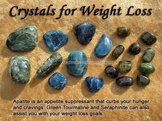 Weight Loss Top Recommended Crystals: Apatite, Green Tourmaline and Seraphinite. Weight imbalances are associated with the Root chakra. Blue Apatite is especially beneficial as an appetite suppressant. Wear or carry your preferred crystals in your pocket. Crystal Magic, Crystal Grid, Crystal Cluster, Quartz Crystal, Crystals And Gemstones, Stones And Crystals, Gem Stones, Reiki, Crystal Meanings