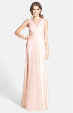 Monique Lhuillier Bridesmaids V-Neck Shirred Tulle Gown at Nordstrom.com.  Kinda maybe?