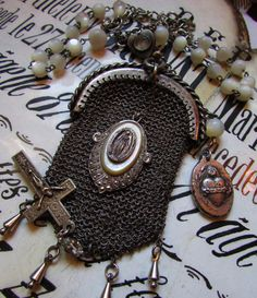 Antique religious necklace sacred heart Victorian chainmaille coin purse mother of pearl sterling silver one of a kind jewelry assemblage