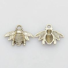 PEPPERLONELY 20PC Antiqued Silver Bee Charms Pendants 21.5x16mm