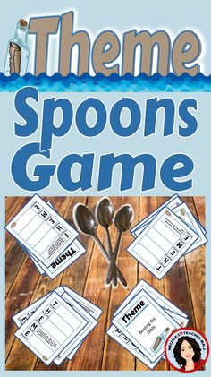 Theme is a tough concept for students. This Spoons Game using the visual of a graphic organizer helps the kids remember what questions to ask when trying to figure out the theme of a passage. The game format makes it fun.   This Theme Spoons is set up for small groups. 2 to 4 students in each group. If you would like the whole class to play make multiple copies of the card sets, and break the students into small groups.