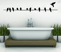 Birds On A Wire-Home Decor-Wall Sticker Decal-Wall Art-Wall Decor-38 INCHES-Twelve Birds-Wall Sayings-Famous Quotes
