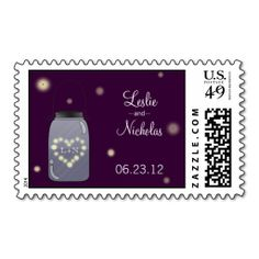 Fireflies and Mason Jar Wedding Stamp. This is customizable to put a personal touch on your mail. Add your photos or text to design your own stamp that can be sent through standard U.S. Mail. Just click the image to try it out!