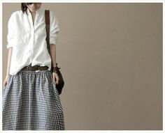Stand Collar White Linen Loose Cotton Women by clothingshow, $50.00