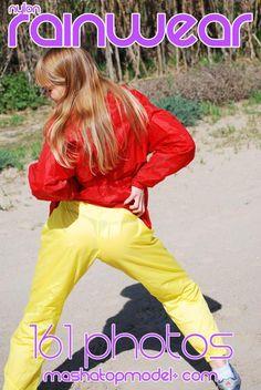 red and yellow nylon rainwear clothes