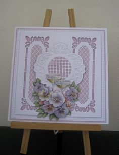 Products used. Creative Expressions bright white and lilac foundation card stock. Layers & 6 of Craft Creations -Champagne and Violas die-cut Decoupage sheet Hand Made Greeting Cards, Making Greeting Cards, Wedding Card Design, Wedding Cards, Sue Wilson, Window Cards, Shaped Cards, 3d Cards, Die Cut Cards