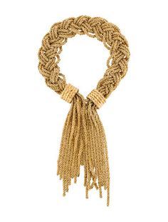 18k gold plated Aurélie Bidermann Miki woven bracelet with fringe at ends and hook closure.