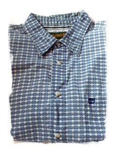 Mens Timberland Camp Shirt XL Cotton Button Front Short Sleeve White Blue Check #Timberland #ButtonFrontCamp