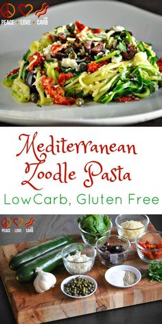 Mediterranean Noodle Pasta - Low Carb, Keto, Gluten Free: This Mediterranean Zoodle Pasta is packed with flavor and super easy to make. It's great served as a cold salad, as a one pot low carb meal with chicken or shrimp, or with a creamy sauce! Mediterranean Pasta, Mediterranean Diet Recipes, Zoodle Recipes, Spiralizer Recipes, Salad Recipes, Snacks Recipes, Soup Recipes, Smoothie Recipes, Pasta Recipes
