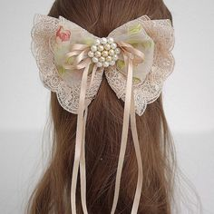 French Lace Fabric Oversized Bow Barrette, Holly, Ivory and Champagne - big hair… Kawaii Accessories, Diy Hair Accessories, Pretty Hairstyles, Cute Hairstyles, Cute Crafts, Diy And Crafts, Rhinestone Bow, Anime Hair, Brooches Handmade