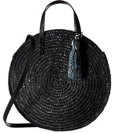 From New York designer Rebecca Minkoff, this intricately designed straw tote is perfect for Spring/Summer. Featuring a chic circular silhouette, leather strap and tassel and and snap closure it's great for a day in town or at the beach. Handbag Storage, Diy Handbag, Tote Handbags, Purses And Handbags, Rebecca Minkoff, Personalized Luggage, Straw Tote, Tote Pattern, Basket Bag