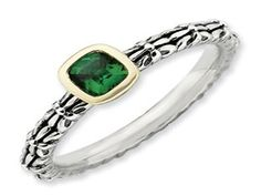 Checkerboard Cut Emerald Sterling Silver 14K Gold Stackable Ring (Online at Gemologica.com)