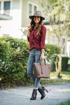 RED PLAID   GRAY JEANS