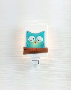 Nightlight owl fused glass turquoise night light by VeilleSurToi