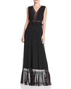 Elie Tahari Amilia Lace Trim Silk Maxi Dress