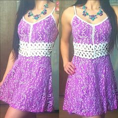 "Purple Lace & Lattice Cutout Waist Dress This stunning floral dress features a darling a-line silhouette & contrast colored lattice cutout detail on waistline. Has a built in slip so it's not see through. (Only on cutout lattice waist) Perfect for spring/summer! 97% polyester, 3% spandex. Apprx 34"" long. Has adjustable straps and zip up back. So much more amazing in person. Great quality! Have in S (2-4) M (6-8) and L (10-12) price is firm unless bundled. Fits TTS. You may purchase this…"