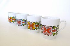 Mod Butterfly Mugs Stacking Mid Century Modern by WeeLambieVintage