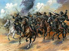 """Húsares """"Negros"""" del 5 Regimiento 1744, también conocidos como los """"húsares de la muerte"""", no confundir con los del 9 Regimientio """"Muerte Total"""" o los muy posteriores """"Húsares de la Calavera"""" de Brunswick.  A. Yezhov - box art Zvezda  Más en www.elgrancapitan.org/foro"""