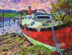 Giclee Canvas Print 8 x10 Claudes Boat -
