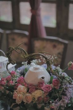 vintage garden table decoration