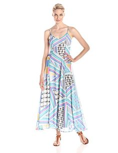 Everly Womens Everly Womens Sleeveless Printed Maxi Dress MultiBlue Small * Details can be found by clicking on the image.