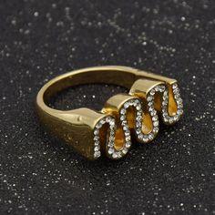 Crystal Snake Shape Finger Ring Women Finger Stack Knuckle Band Ring Vintage Punk Jewelry