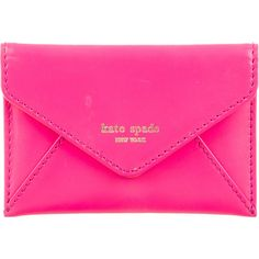 Kate Spade New York Leather Envelope Cardholder ($95) ❤ liked on Polyvore featuring bags, wallets, pink, pink bag, leather credit card holder wallet, leather wallet, credit card holder wallet and kate spade