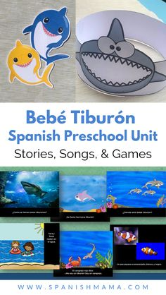 Kids love the song Baby Shark, so why not use the Spanish version Bebé Tiburón with your preschool and elementary classes? This extensive unit of over 350+ pages teaching kids about the family, ocean life, and sharks, while reviewing colors, numbers, parts of the body, high frequency verbs and more. #preschoolspanish #prek #spanishforkids #lafamilia #family #tiburones #sharks #bebetiburon #babyshark Preschool Spanish, Elementary Spanish, Spanish Activities, Spanish Classroom, Teaching Spanish, Summer Activities, Teaching Kids, Spanish Songs, Spanish Lessons
