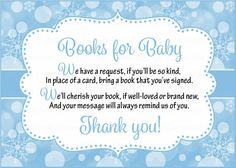 Books For Baby Cards   Printable Download   Blue Bokeh Winter Baby Shower  Invitation Inserts