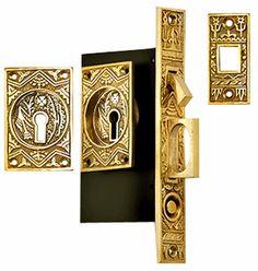 Oriental Pattern Single Pocket Privacy (Lock) Style Door Set (Polished Brass)