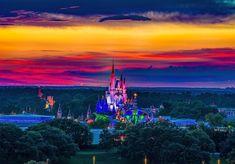 "@tterrell494 on Instagram: ""Thinking of those warm Summer sunsets."" Disney World Magic Kingdom"