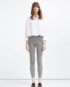 ZARA - WOMAN - CHECKED JACQUARD LEGGINGS