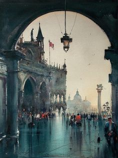 "Dusan Djukaric, ""View Through the Passage,"" Watercolor. -He has an incredible sense of tonal balance. Watercolor City, Watercolor Landscape Paintings, Watercolor Sketch, Watercolor Artists, Painting Abstract, Acrylic Paintings, Watercolor Painting, Venice Painting, Watercolor Architecture"