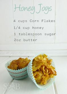 "Cornflake cups A ""Joyful"" Guilty Pleasure (Honey Joys) - Live Creatively Inspired Köstliche Desserts, Delicious Desserts, Dessert Recipes, Yummy Food, Lunch Box Recipes, Honey Recipes, Sweet Recipes, Honey Joys Recipe, Cake Stall"