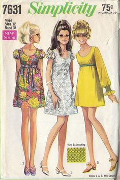 Vintage Pattern Retro 1968 A Line Puffed Sleeve by RaimentRevival, $6.49