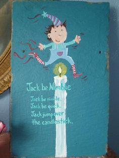 Custom hand painted 'Jack be nimble' Slate by Fernwold on Etsy, $36.00