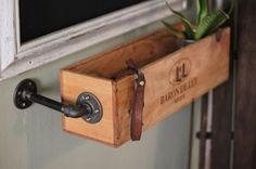 DIY Wood Working Projects: Items similar to Wine box with industrial pipes on.for herb storage in kitchen. Industrial Pipe, Industrial Furniture, Industrial Kitchens, Plumbing Pipe Furniture, Plywood Furniture, Furniture Plans, Kids Furniture, Furniture Design, Diy Herb Garden