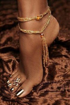 5. Something shiny ~ Shiny toenails, toe bling and ankle bling. by Janny Dangerous