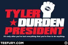 Tyler Durden for President - my fav. Tyler Durden, Losing Everything, Fight Club, Make Me Smile, Nerdy, Pop Culture, Presidents, My Love, Dibujo