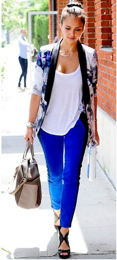 blue pants, white top, cute blazer. Different high heels.