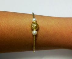 Gold Filigree and Pearl Bracelet by OneSEC on Etsy, $8.50