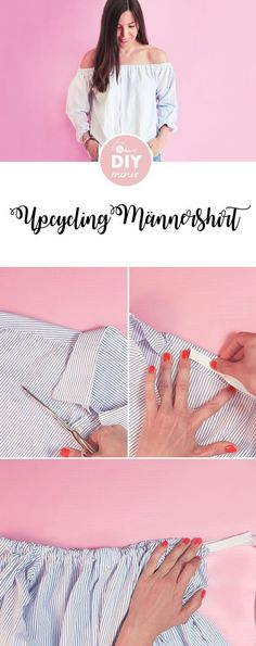 Upcycling: Männershirt in Carmenbluse verwandeln – Näh-Anleitung via Makerist…. Upcycling: Turn Men's Shirt into Carmen Blouse – Sewing Manual via Makerist. alDIY: Upcycling – small RBag for fruits and vegetables Diy Clothing, Sewing Clothes, Sewing Men, Men Clothes, Off Shoulder Bluse, Diy Fashion, Fashion Tips, Fashion Trends, Fashion Ideas