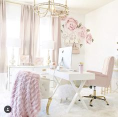 Turn your boring bland home office into a super-chic gorgeous workspace. Here are 39 ideas to inspire you. Turn your boring bland home office into a super-chic gorgeous workspace. Here are 39 ideas to inspire you. Home Office Space, Office Workspace, Home Office Design, Home Office Decor, Office Chic, Small Office, Pink Office Decor, Feminine Office Decor, Office Designs